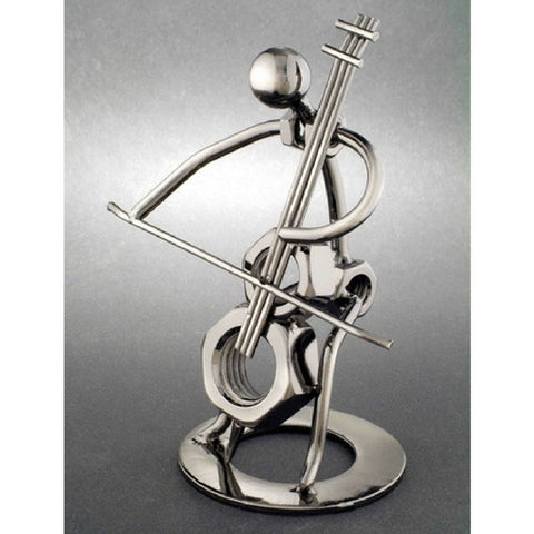 Metal Musician Sculpture, Cello Player