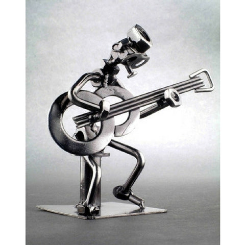 Metal Musician Sculpture, Sitting Guitarist