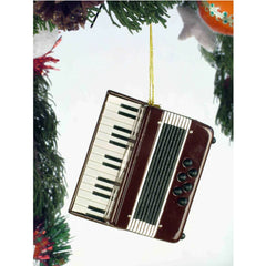 Accordion Christmas Ornament, Maroon