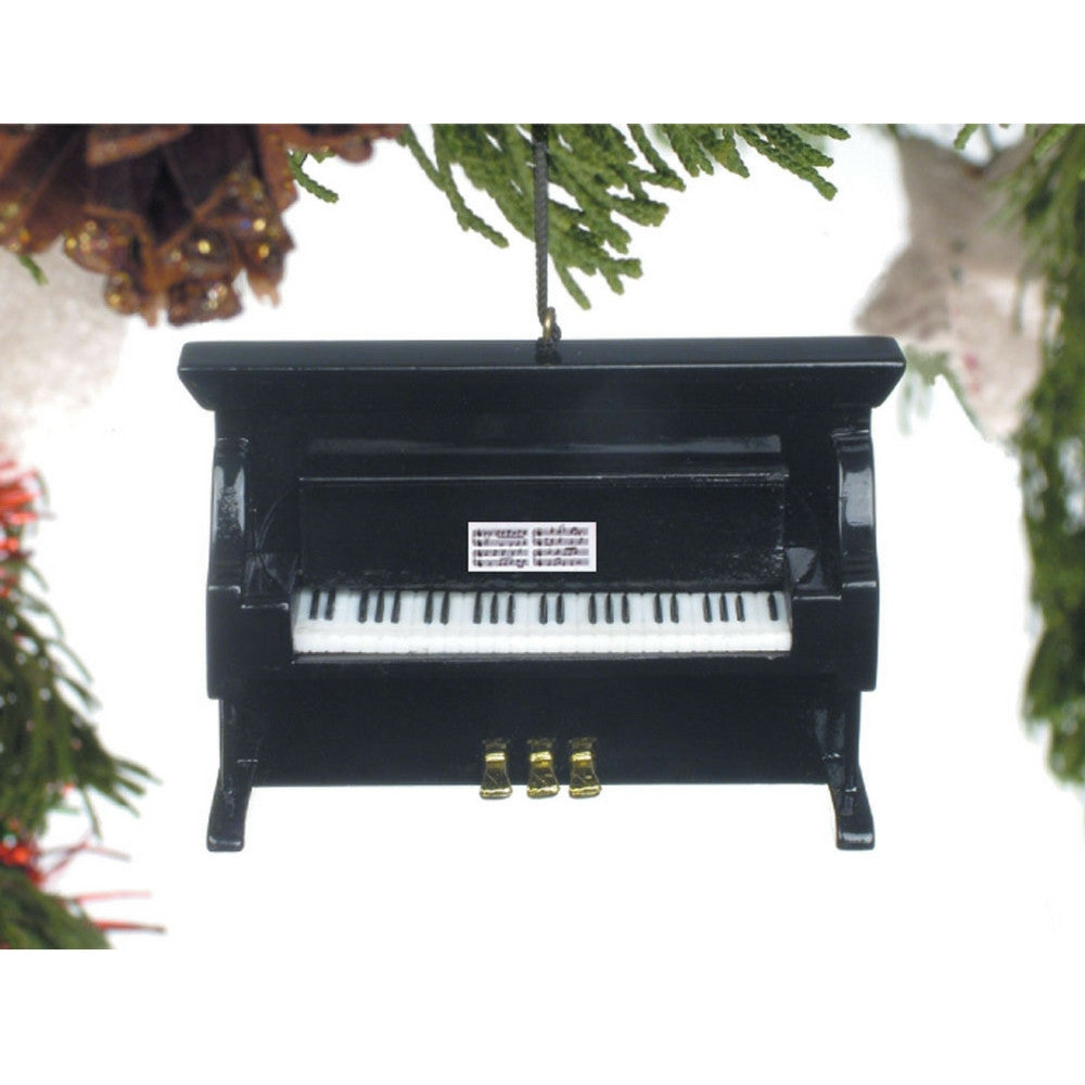 Upright Piano Christmas Ornament, Black