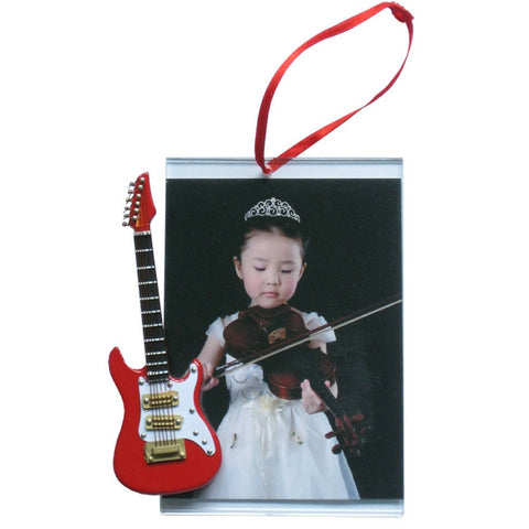 Music Picture Frame Ornament, Electric Guitar, Red
