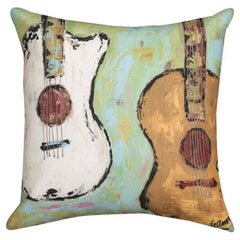 Strung Up Guitar Pillow, Aqua Green