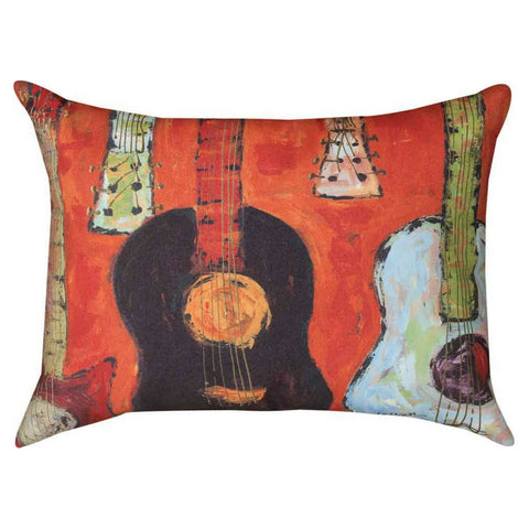 Strung Up Guitar Pillow, Coral Red