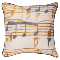 Music Stanzas Pillow, Grey and Gold