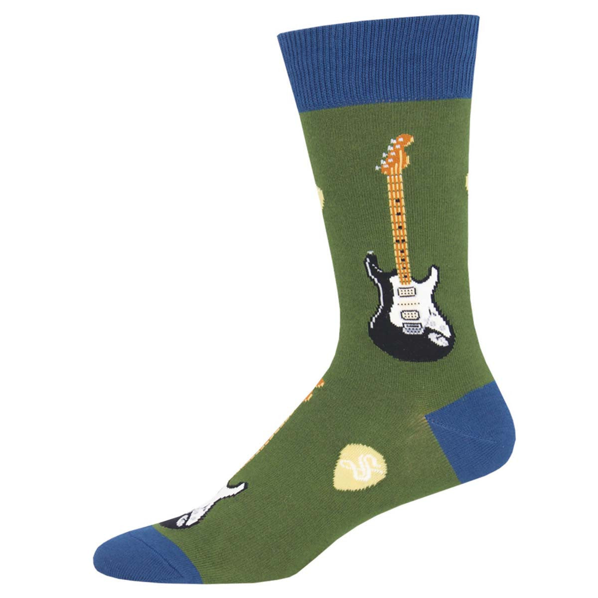 Men's Socks, Electric Guitars, Green