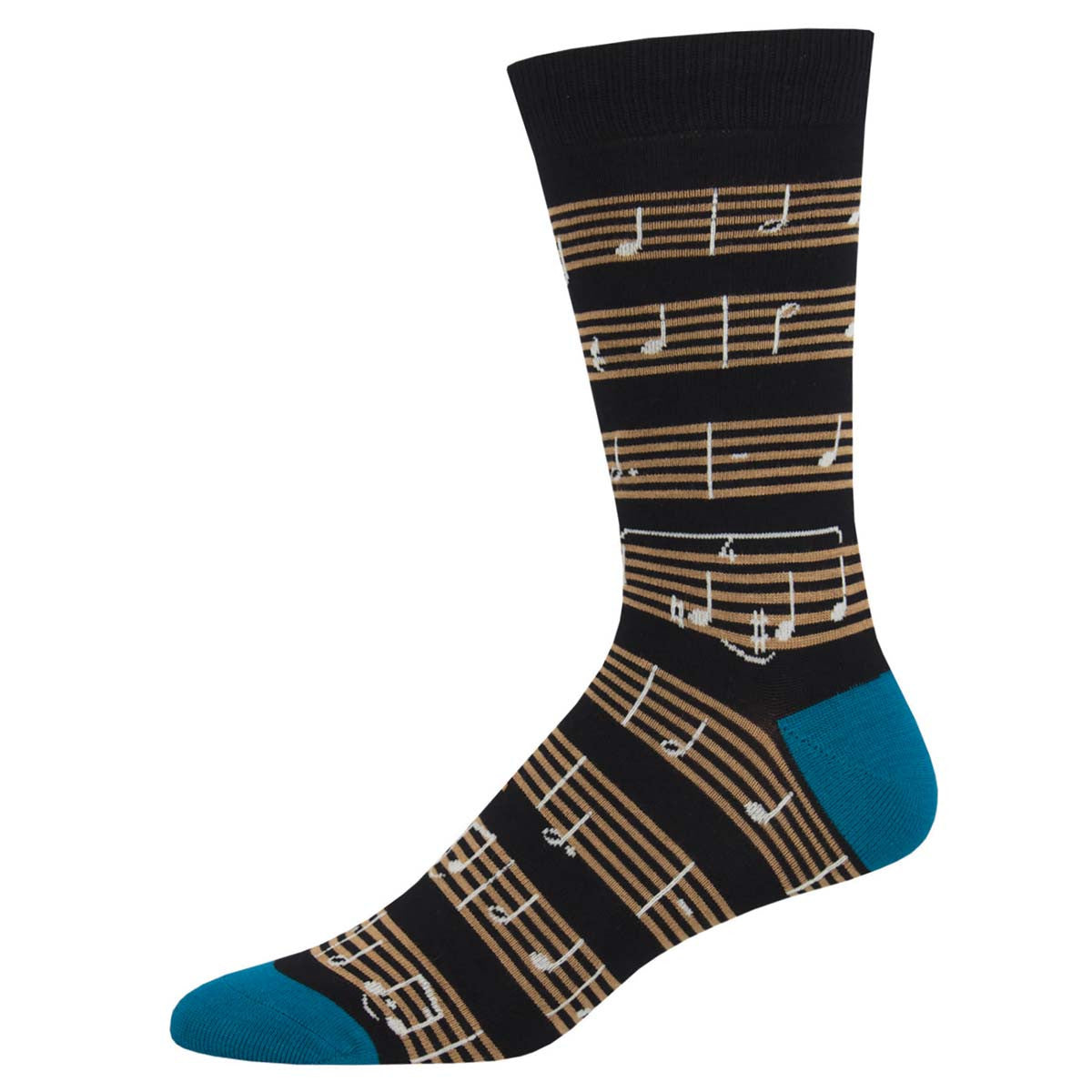 Men's Socks, Black Sheet Music With Blue Heel and Cuff