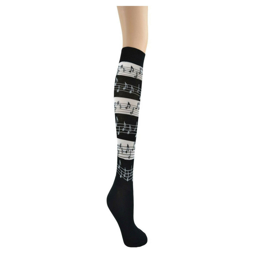 Women's Knee-High Socks, Black and White Music Stripes