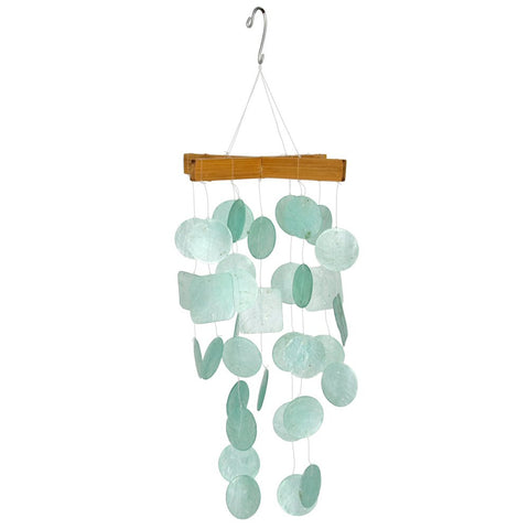 Mini Capiz Wind Chime, Aqua