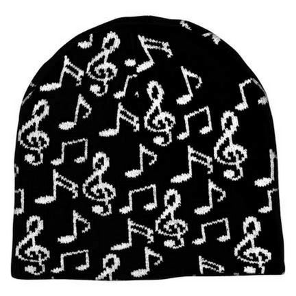 Knit Winter Hat, Music Notes on Black