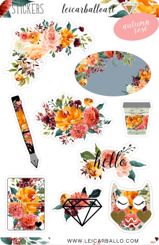 Sticker Sheet Set - Autumn Rose