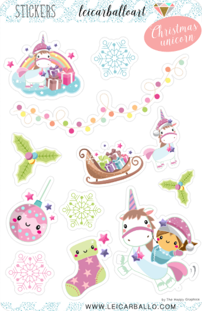 Sticker Sheet Set - Christmas Unicorn