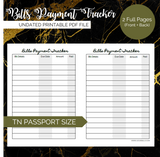 Pretty Printables: Bills Payment Tracker (Pocket, Passport, A6 TN)