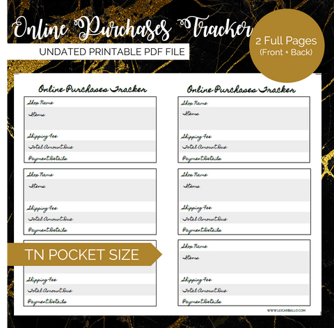 Pretty Printables: Online Purchases Tracker (Pocket, Passport TN)