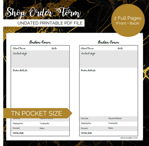 Pretty Printables: Shop Order Form (Pocket, Passport, A6 TN)