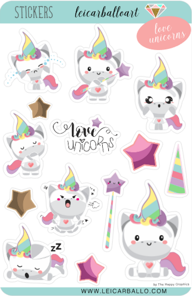 Sticker Sheet Set - Love Unicorns