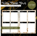 Pretty Printables: Weekly Marble Boxes (Pocket, Passport, A6 TN)