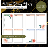 Pretty Printables: Weekly Peony Boxes (Pocket, Passport, A6 TN)