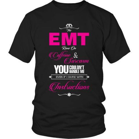 EMT T-shirt Hoodie - Runs On Caffeine And Sarcasm (Female) - My Place 4 Gear, Tees & Sweats - Outdoor, teelaunch - Orvis