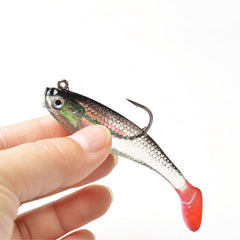 Fishing Gear - 3D Eyes Lead Softbait 5 Fishing Lures With T-tail Action - Buy 2 Get 3 Free!