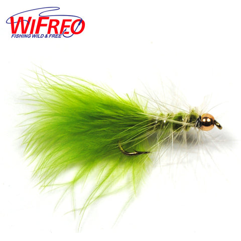 Fly - 6 Pieces Chartreuse Brass Bead Head Wooly Bugger