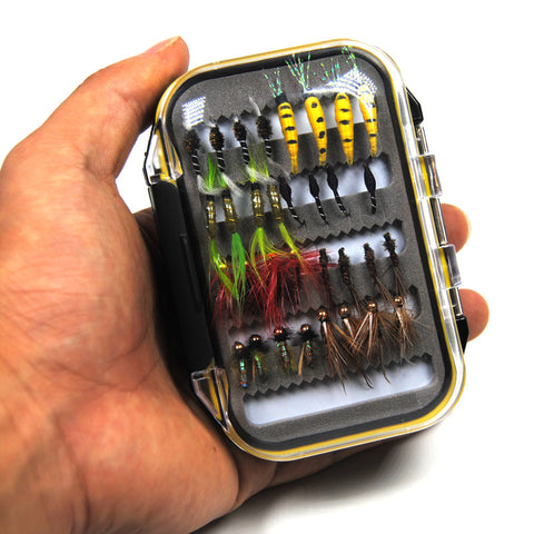 Fly - 64 Piece Assortment Dry, Wet & Nymph Flies With Waterproof Fly Box
