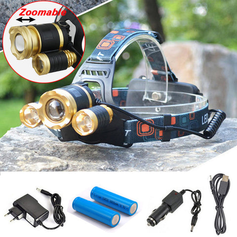 10000 Lumens Headlamp, 3 LED CREE XM-L T6 Zoomable High Power - My Place 4 Gear, Camping Gear - Outdoor, My Place 4 Gear - Orvis