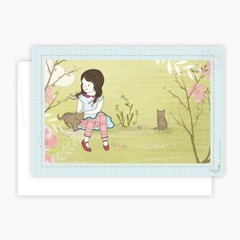 Girl and her Cats Card