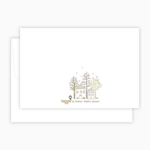 Gold & Gray Deer Card