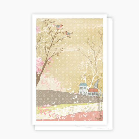 Houses and birds Pink Card