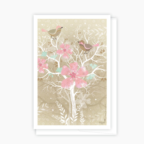Two birds on the tree Pink Card