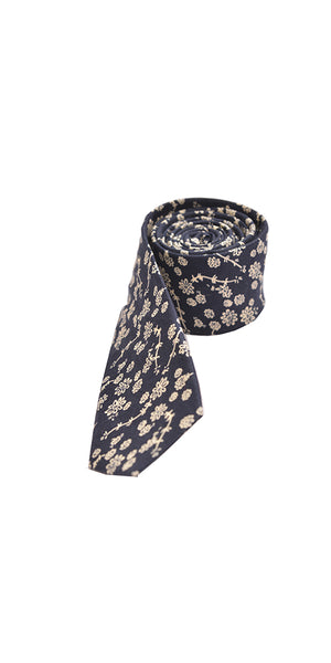 Dark Blue Floral Slim Tie