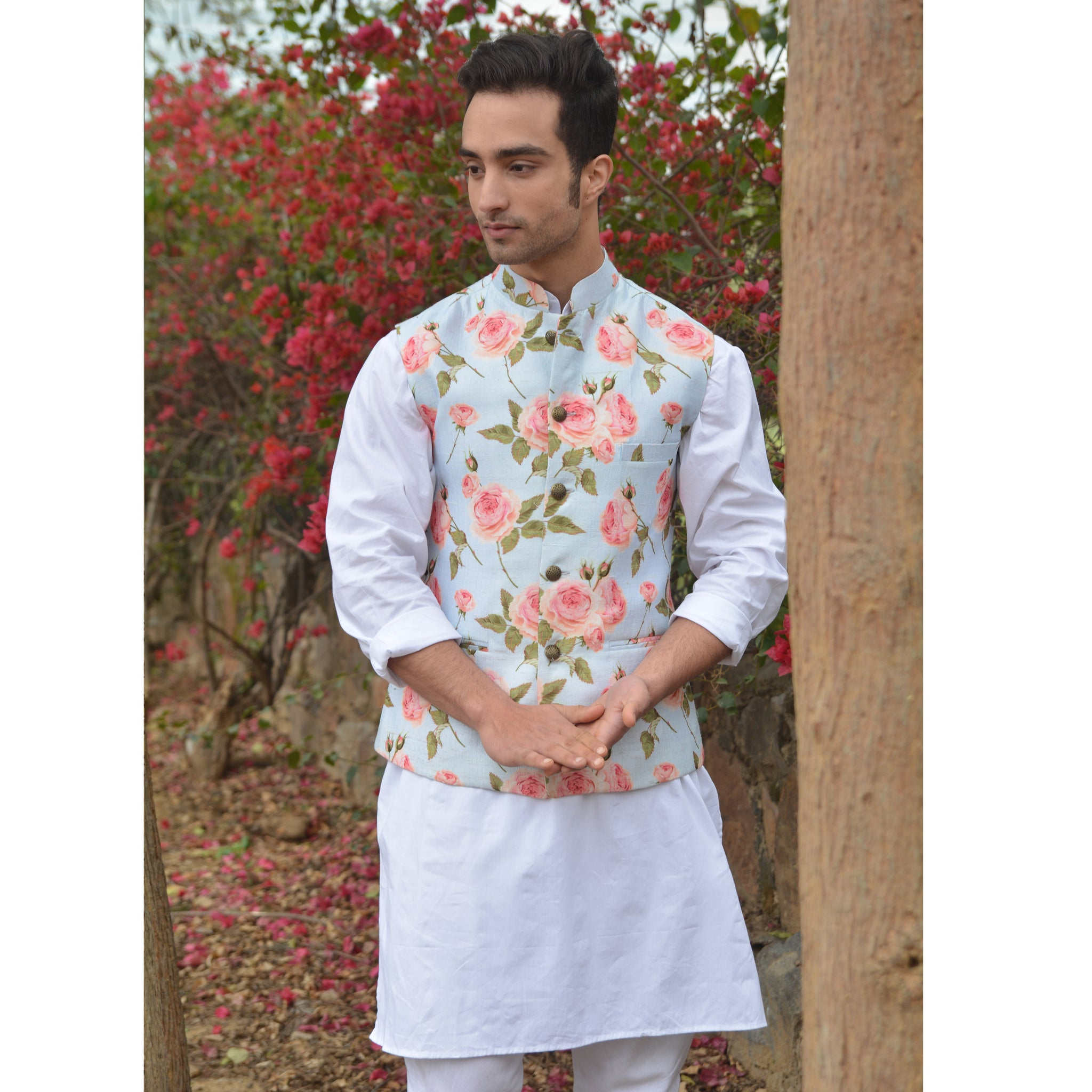 Rose Print Nehru Jacket