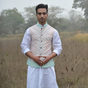 Flamingo Print Nehru Jacket