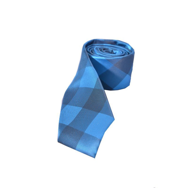 Blue Checks Slim Tie