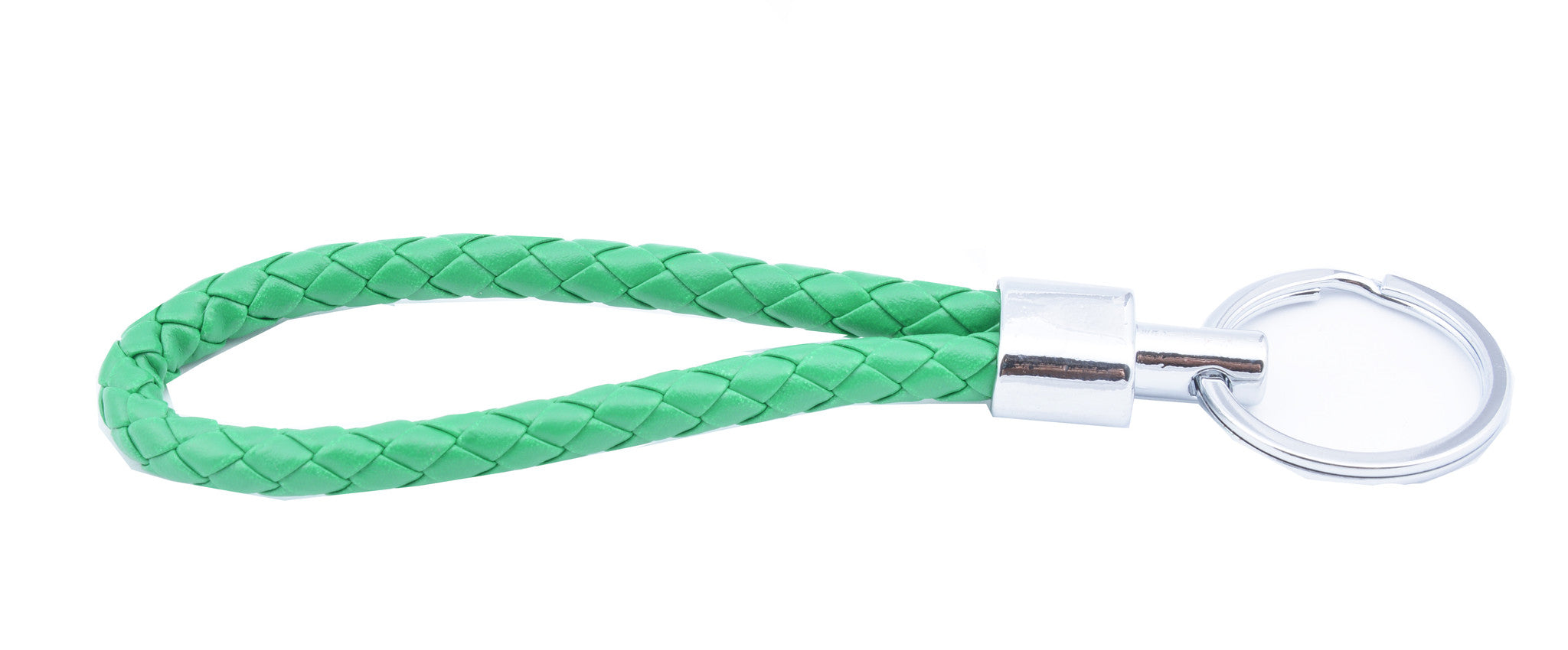 Green Braided Leather Keychain