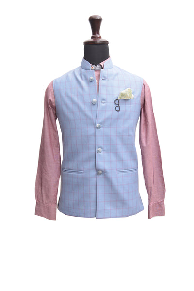 Blue Checks Nehru Jacket