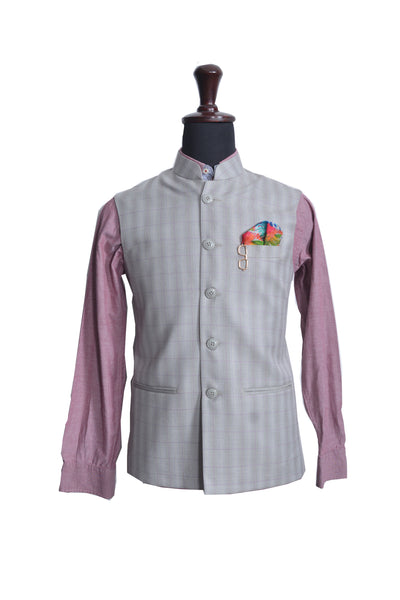 Grey Checks Nehru Jacket