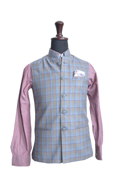 Blue & Brown Checks Nehru Jacket