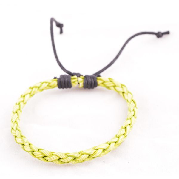 Lime Green Braided Leather Bracelet