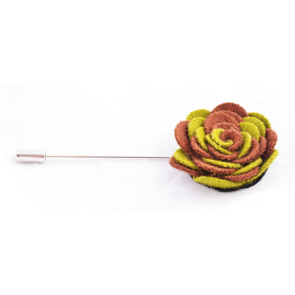 Green & Brown Flower Lapel Pin