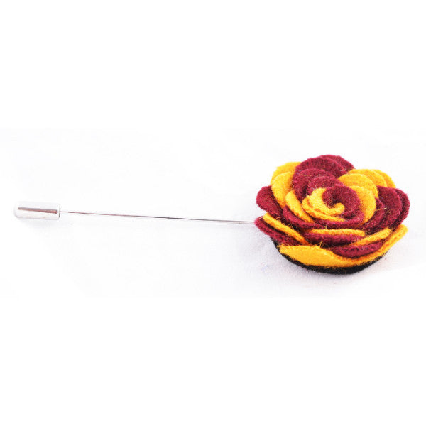 Yellow & Maroon Flower Lapel Pin