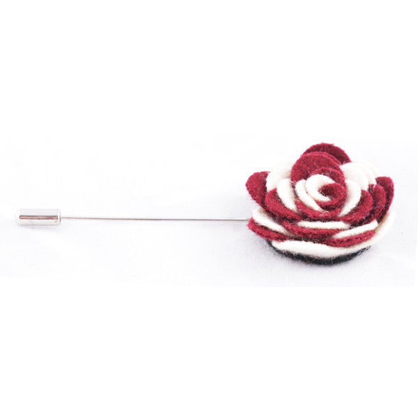 Maroon & White Flower Lapel Pin