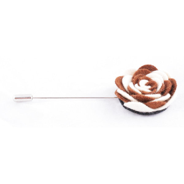 White & Brown Flower Lapel Pin