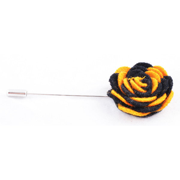 Yellow & Black Flower Lapel Pin