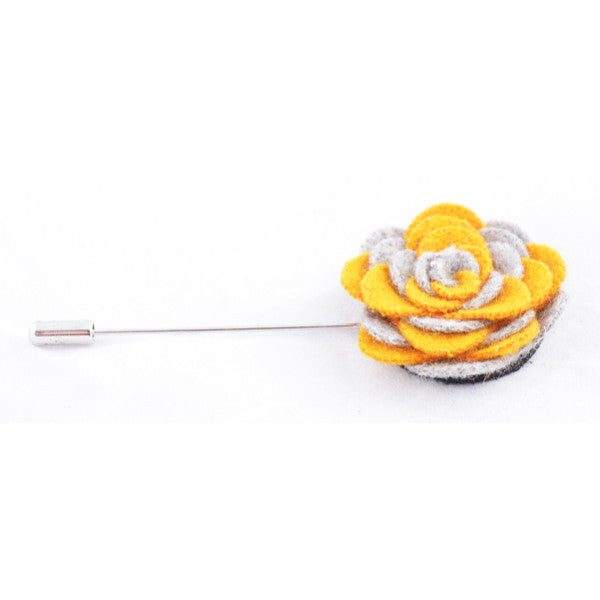 Yellow & Grey Flower Lapel Pin
