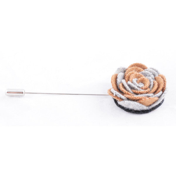 Brown & Grey Flower Lapel Pin