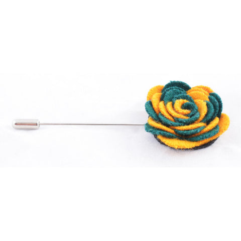 Dark Green & Yellow Flower Lapel Pin