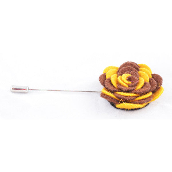 Yellow & Brown Flower Lapel Pin