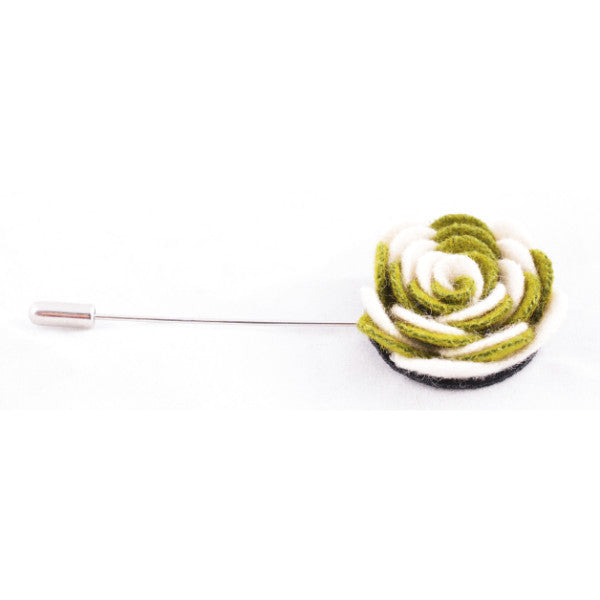 White & Green Flower Lapel Pin