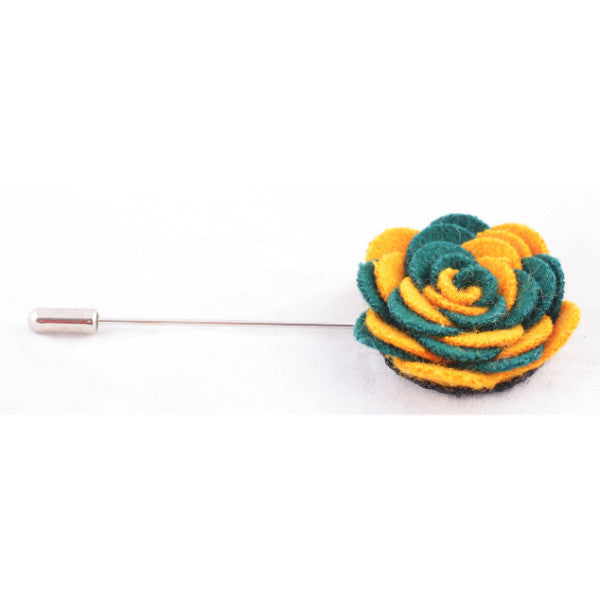 Yellow & Green Flower Lapel Pin